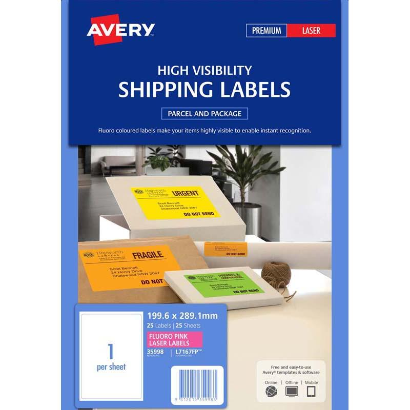 Avery Shipping Label L7167FP Luoro Pink 1 Up 25 Sheets Laser 199.6 X 289.1mm