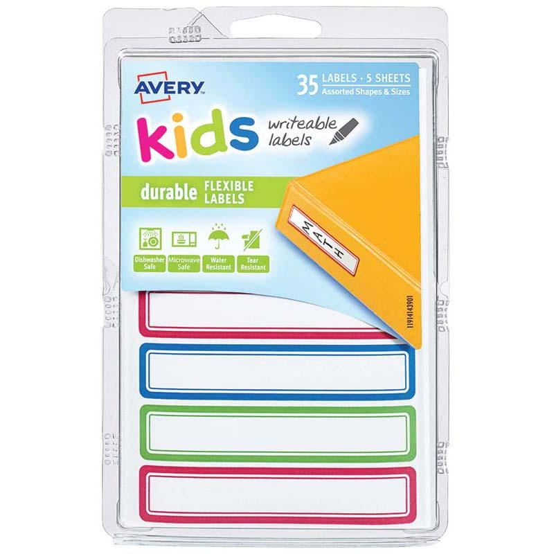 Avery Label Kids Durable Green Blue Red Border 89x16mm 7up 5 Sheets