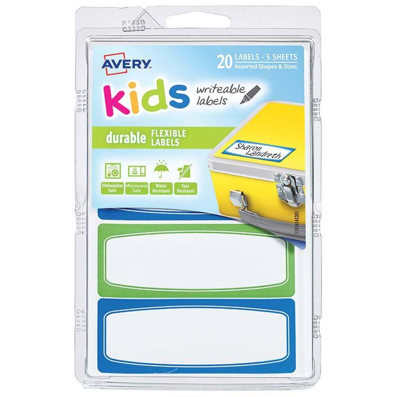 Avery Label Kids Durable Green Blue Border 89x32mm 4up 5 Sheets