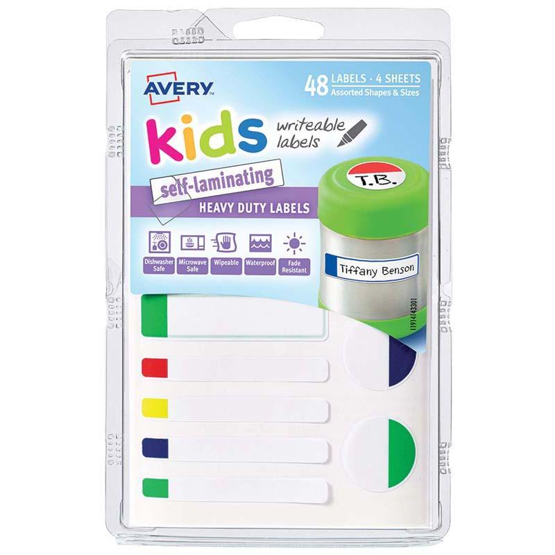 Avery Label Kids Self Laminating Neon Assorted Size And Shape 12up 4 Sheets