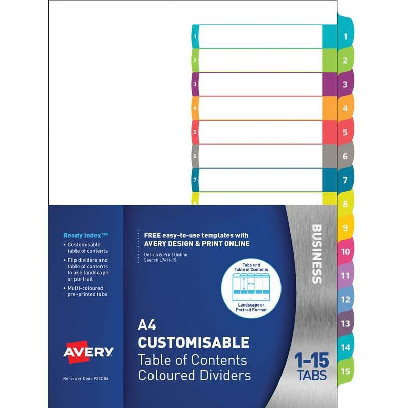 Avery Customisable Table Of Contents A4 1-15 Tabs Coloured