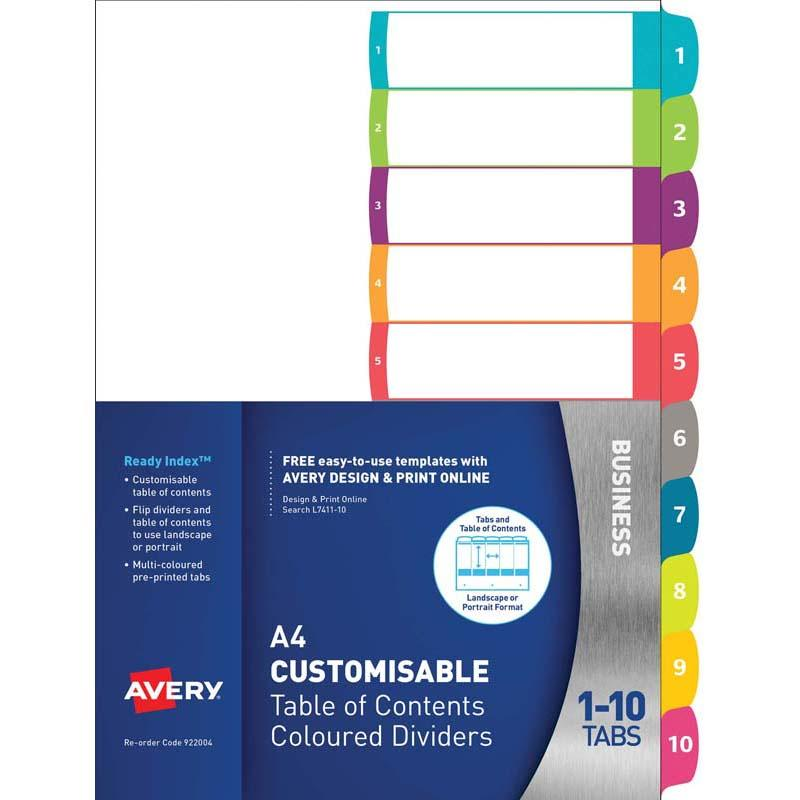 Avery Customisable Table Of Contents A4 1-10 Tabs Coloured
