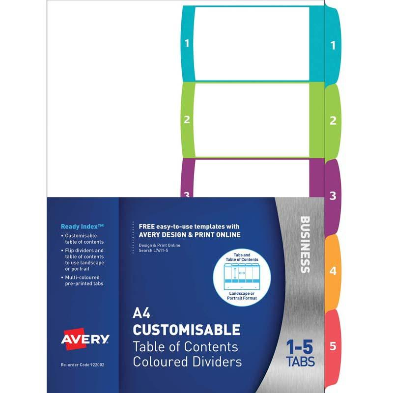 Avery Customisable Table Of Contents A4 1-5 Tabs Coloured