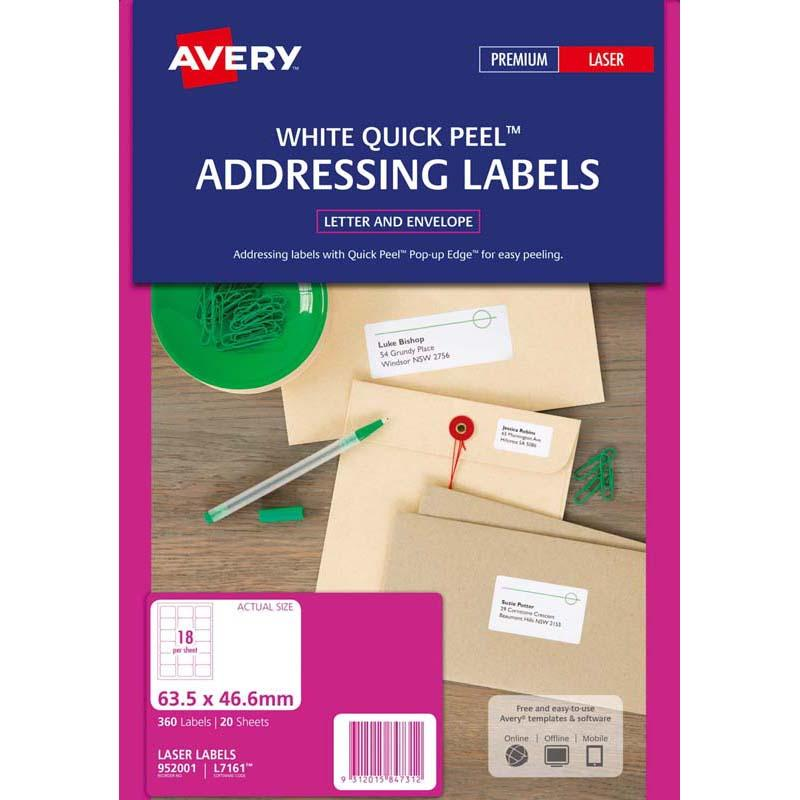 Avery Label L7161-20 20 Sheets Laser