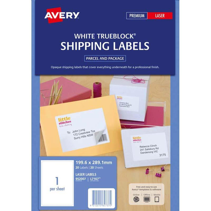 Avery Label L7167-20 20 Sheets Laser