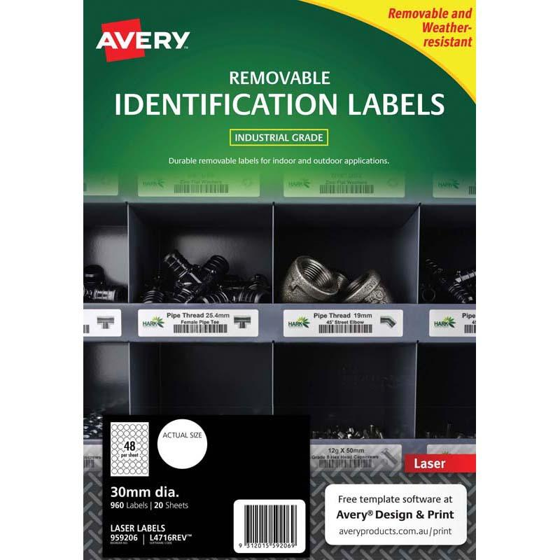 Avery Weather Resistant Label L4716 White 48 Up 20 Sheets Laser 30mm Removable