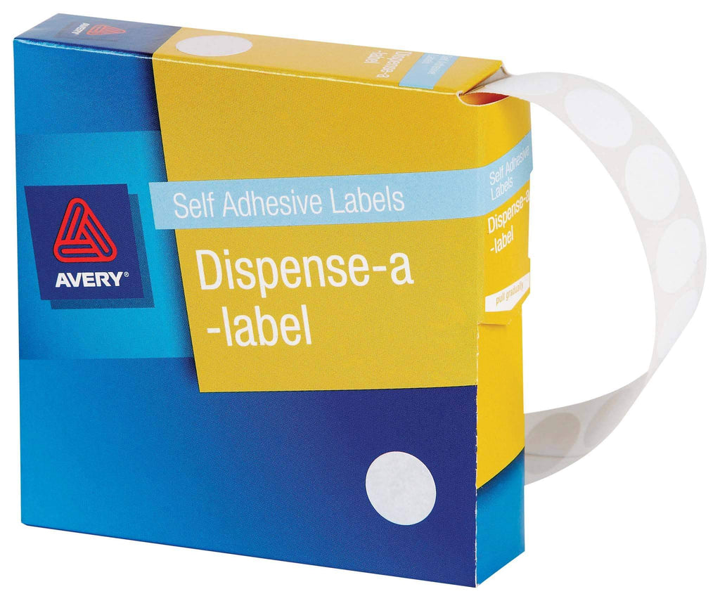 Avery Label Dispenser DMC14W White Round 14mm 1200 Pack