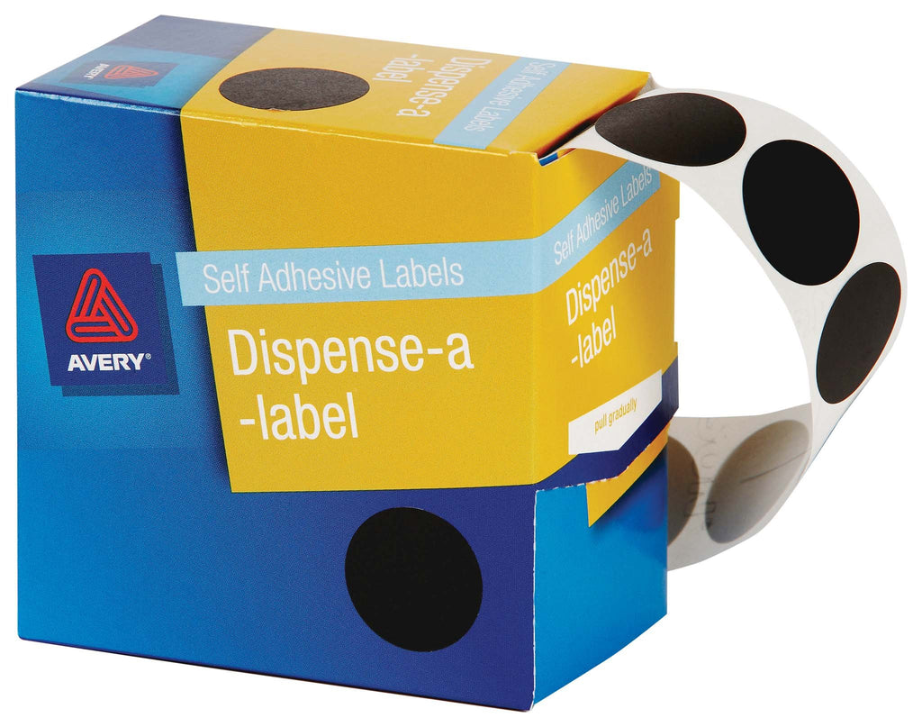 Avery Label Dispenser DMC24BL Black Round 24mm 500 Pack