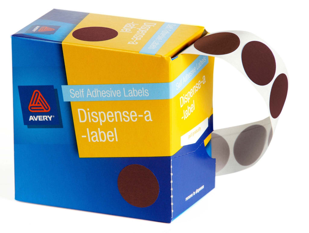 Avery Label Dispenser DMC24BR Brown Round 24mm 500 Pack