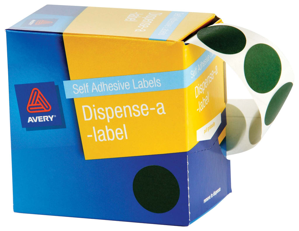 Avery Label Dispenser DMC24G Green Round 24mm 500 Pack