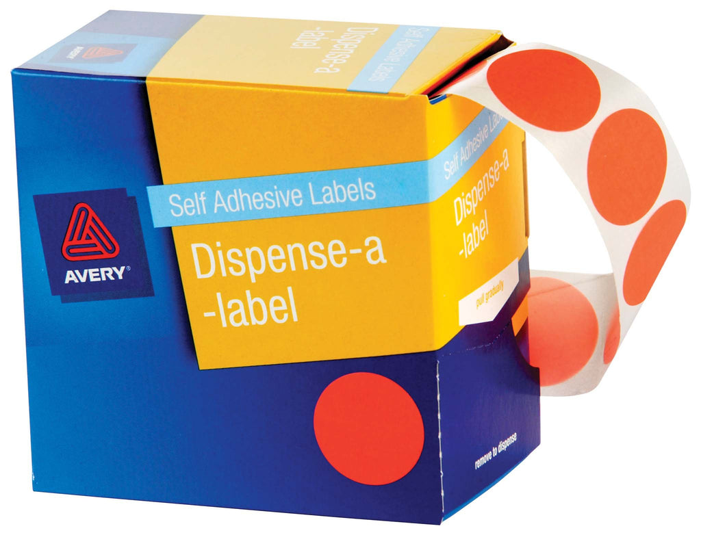 Avery Label Dispenser DMC24O Orange Round 24mm 500 Pack