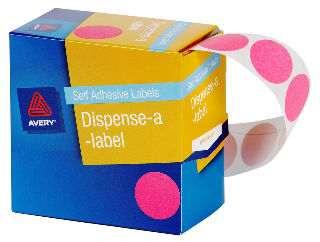 Avery Label Dispenser DMC24P Pink Round 24mm 500 Pack