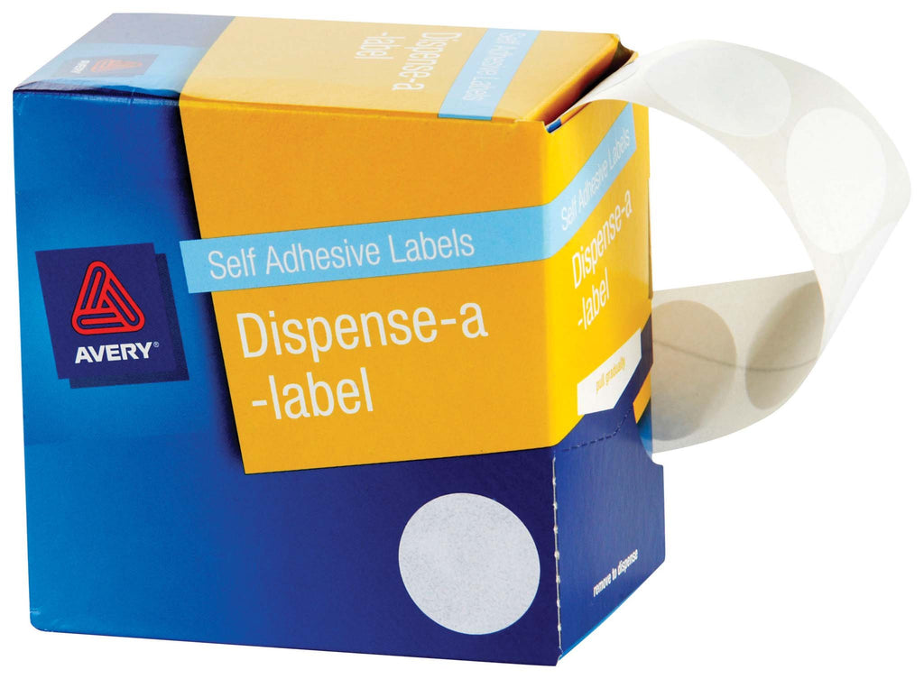 Avery Label Dispenser DMC24W White Round 24mm 550 Pack