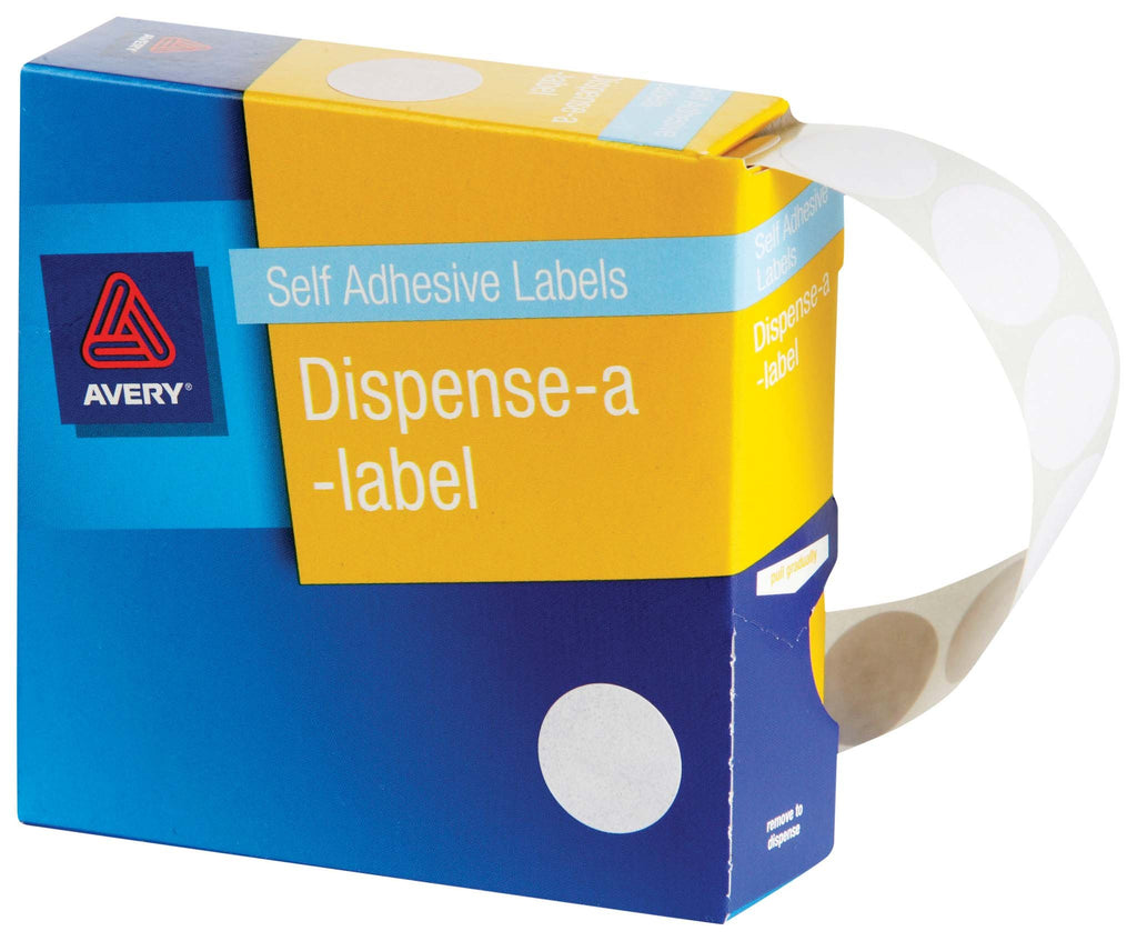 Avery Label Dispenser DMC18W White Round 18mm 900 Pack