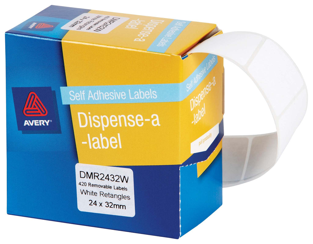 Avery Label Dispenser DMR2432W 24x32mm White 420 Pack