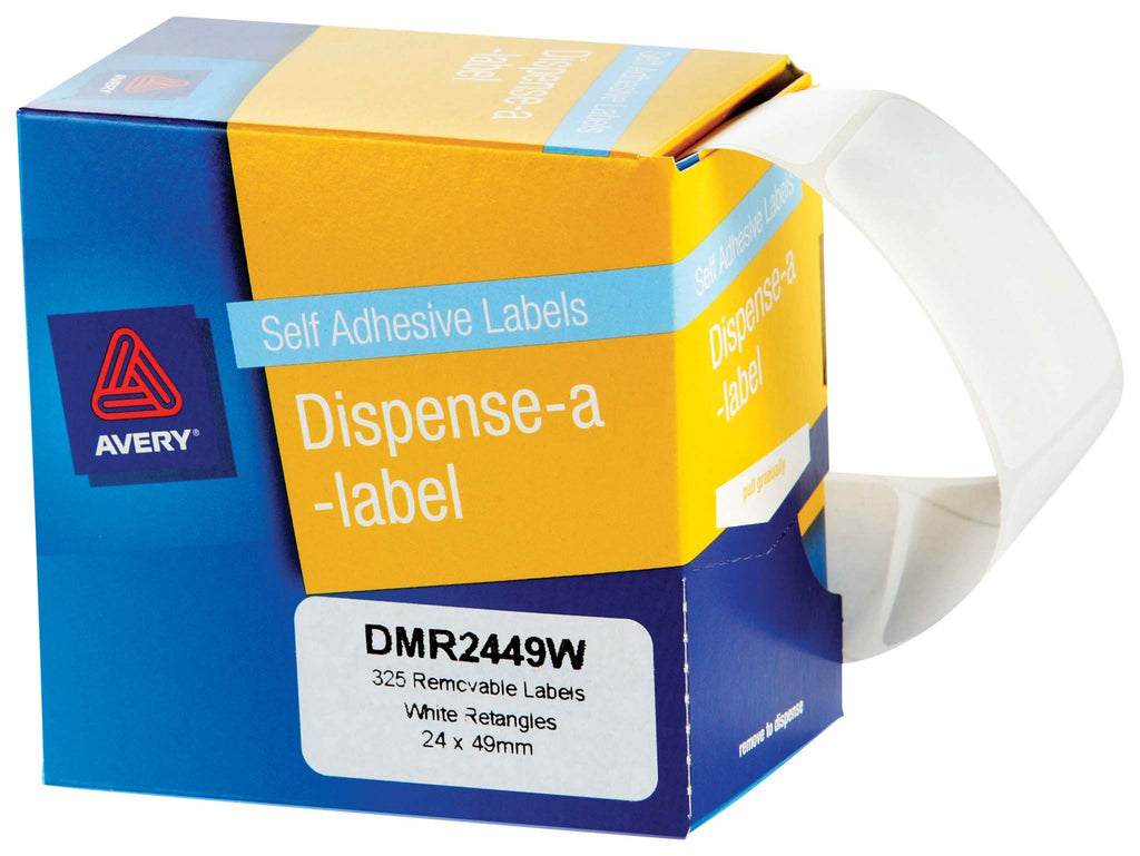 Avery Label Dispenser DMR2449W 24x49mm White 325 Pack