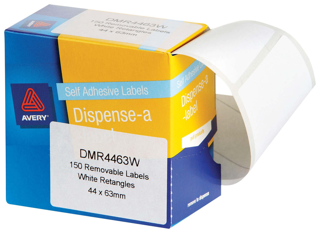 Avery Label Dispenser DMR4463W 44x63mm White 150 Pack