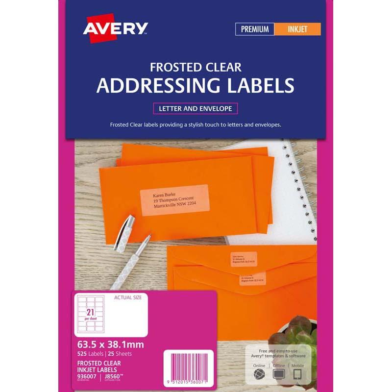 Avery Label Permanent J8560 Frosted Clear 21 Up 25 Sheets Inkejt 63.5mmx38.1mm