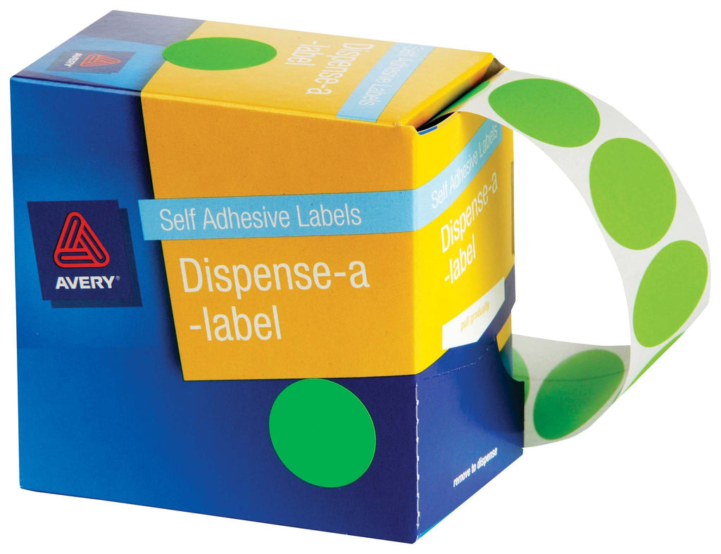 Avery Label Dispenser DMC14FG Green Fluoro Round 14mm 700 Pack