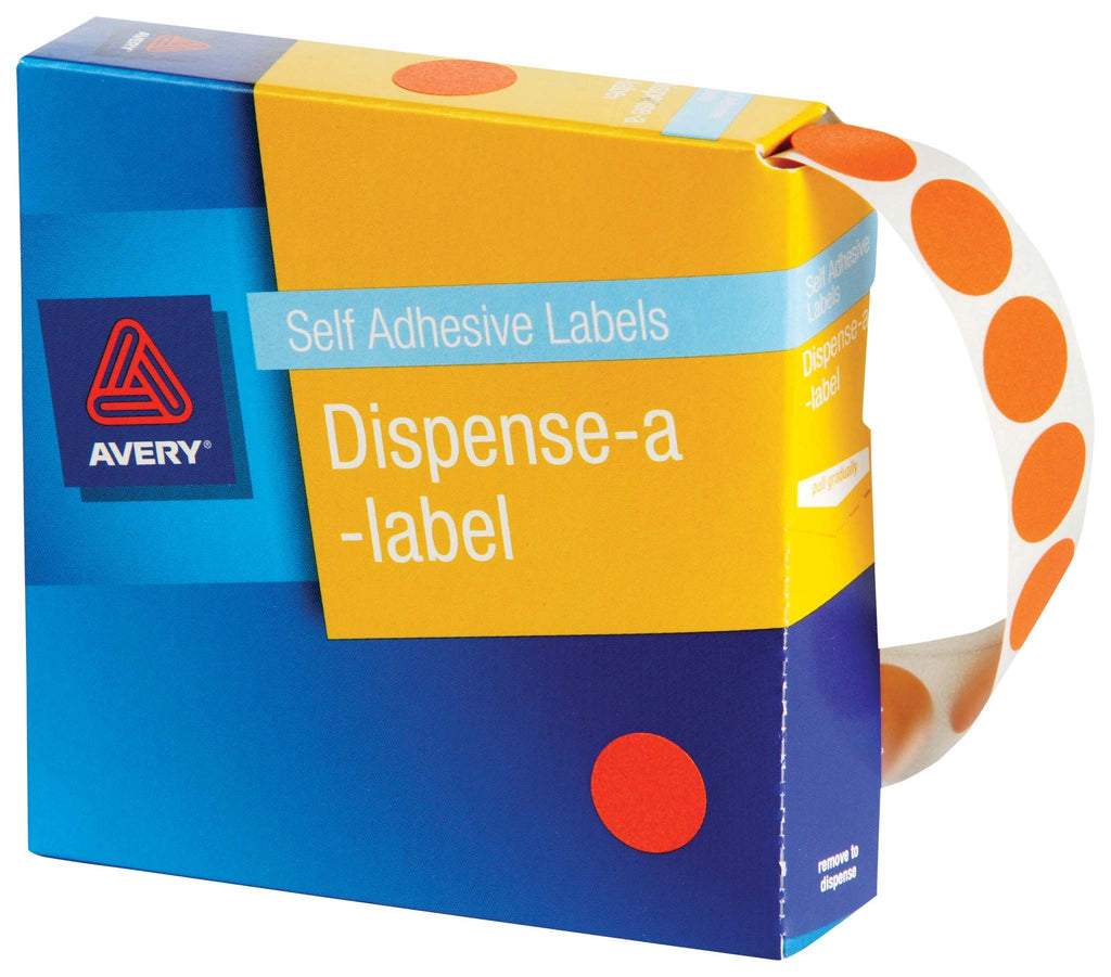 Avery Label Dispenser DMC14FO Orange Fluoro Round 14mm 700 Pack