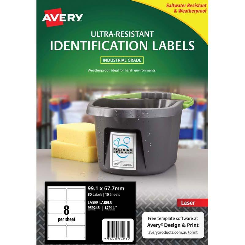 Avery Ultra Resistant ID Label L7914 White 8 Up 10 Sheets Laser 99.1x67.7mm
