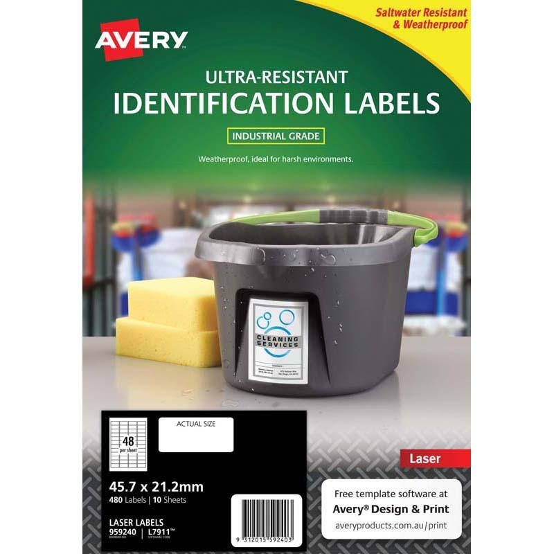 Avery Ultra Resistant ID Label L7911 White 48 Up 10 Sheets Laser 45.7x21.2mm
