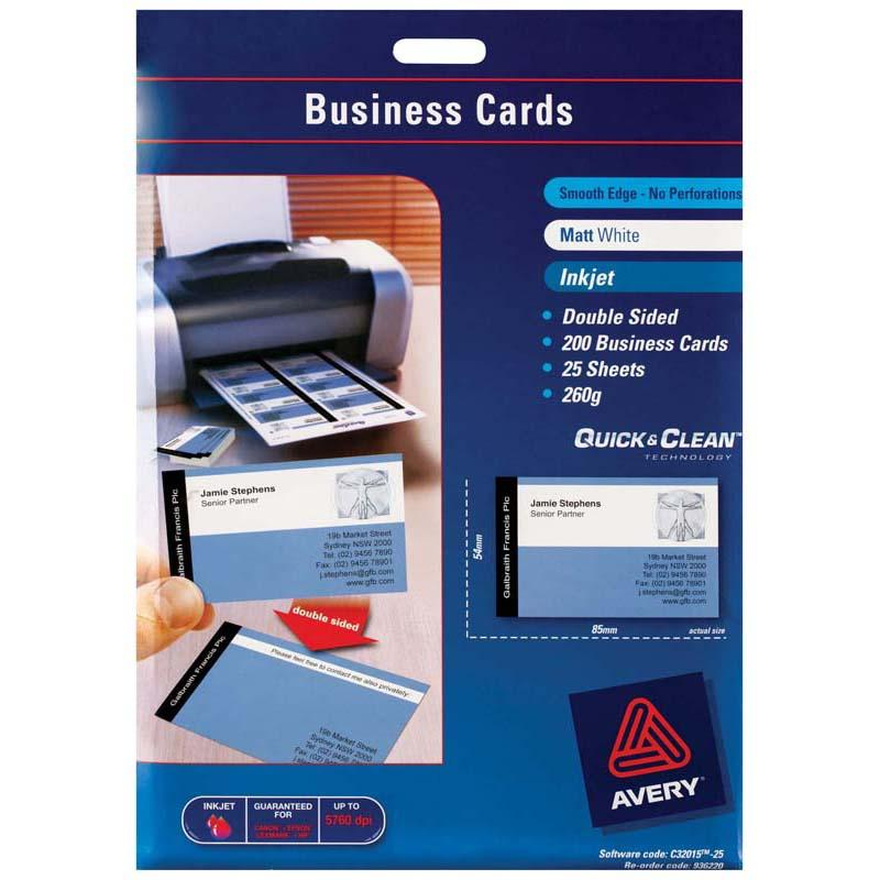 Avery Business Cards C32015-25 25 Sheets Inkjet