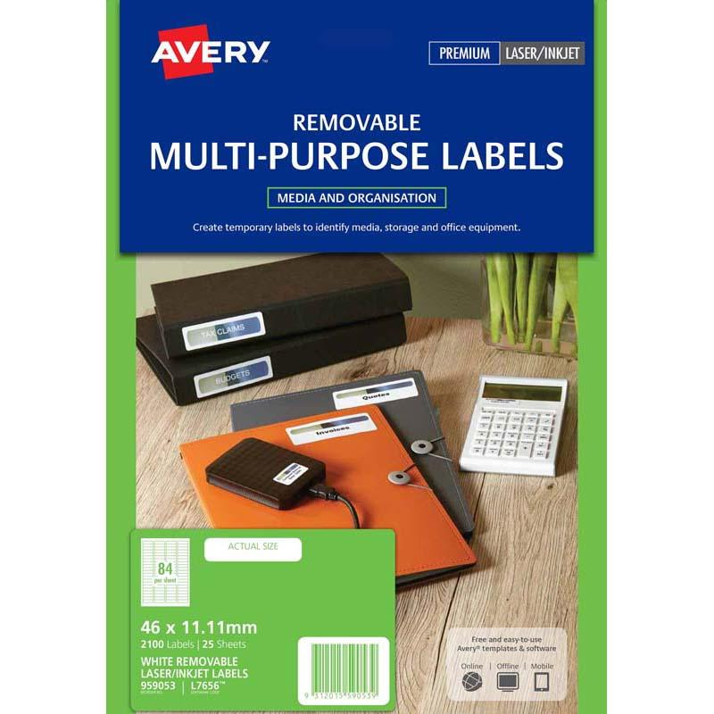 Avery Multi Purpose Label L7656 White 84 Up 25 Sheets Laser Inkjet 46x11.11m Remvble