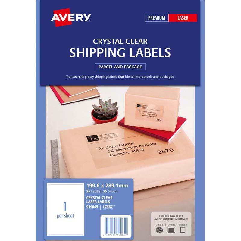 Avery Label L7567-25 Crystal Clear 199.6x289.1mm 25 Sheets