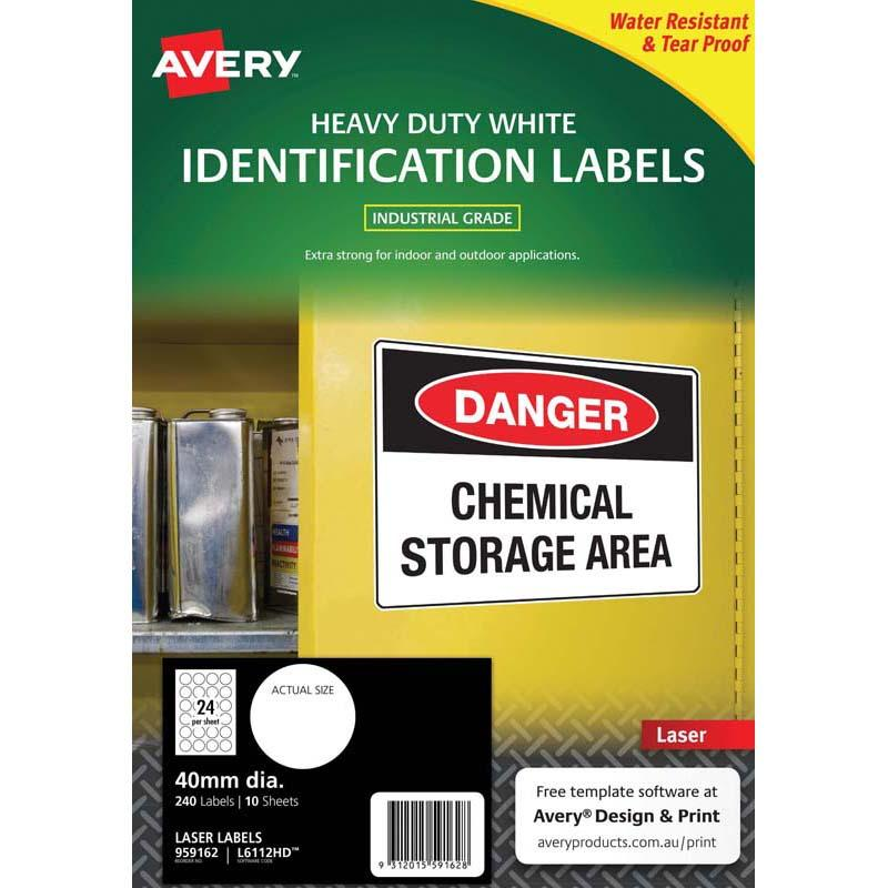 Avery Heavy Duty Id Labl L6112 White 24 Up 10 Sheets Laser 40mm