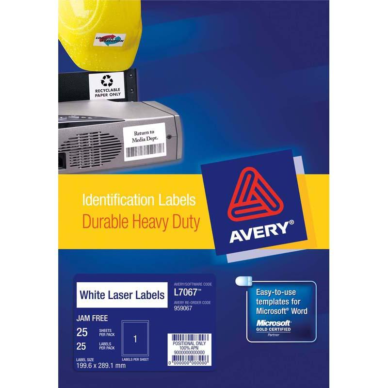 Avery Heavy Duty ID Label L7067 White 1 Up 25 Sheets Laser 199.6x289.1mm