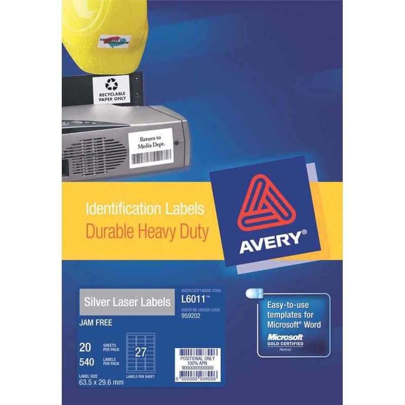 Avery Heavy Duty ID Label L6011 Silver 27 Up 20 Sheets Laser 63.5x29.6mm