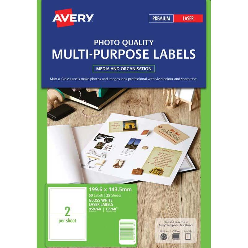 Avery L7768-25 200x144mm Col Las 25sht