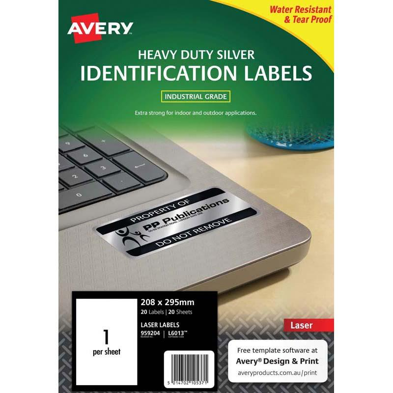 Avery Heavy Duty ID Label L6013 Silver 1 Up 20 Sheets Laser 199.6x289.1mm