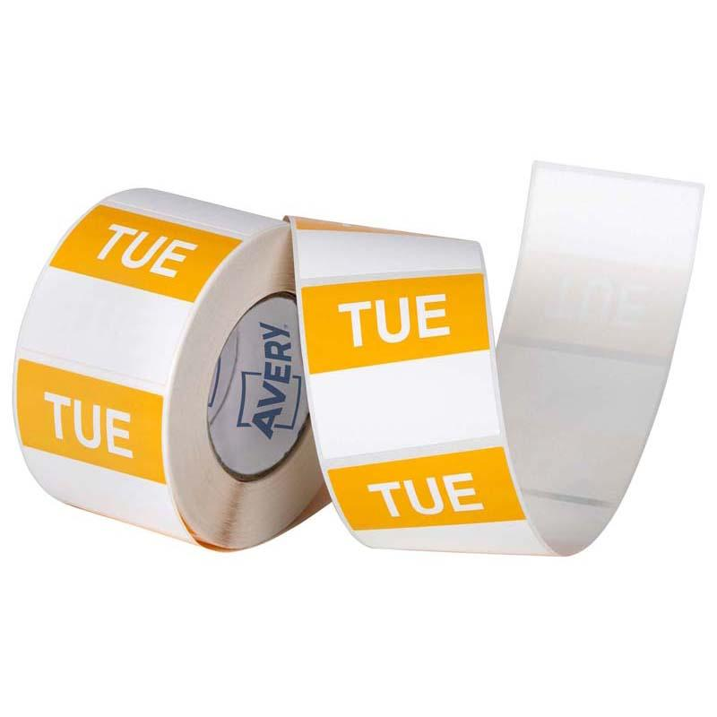 Avery Labels Tuesday Square Day 40x40mm Yellow White 500 Roll