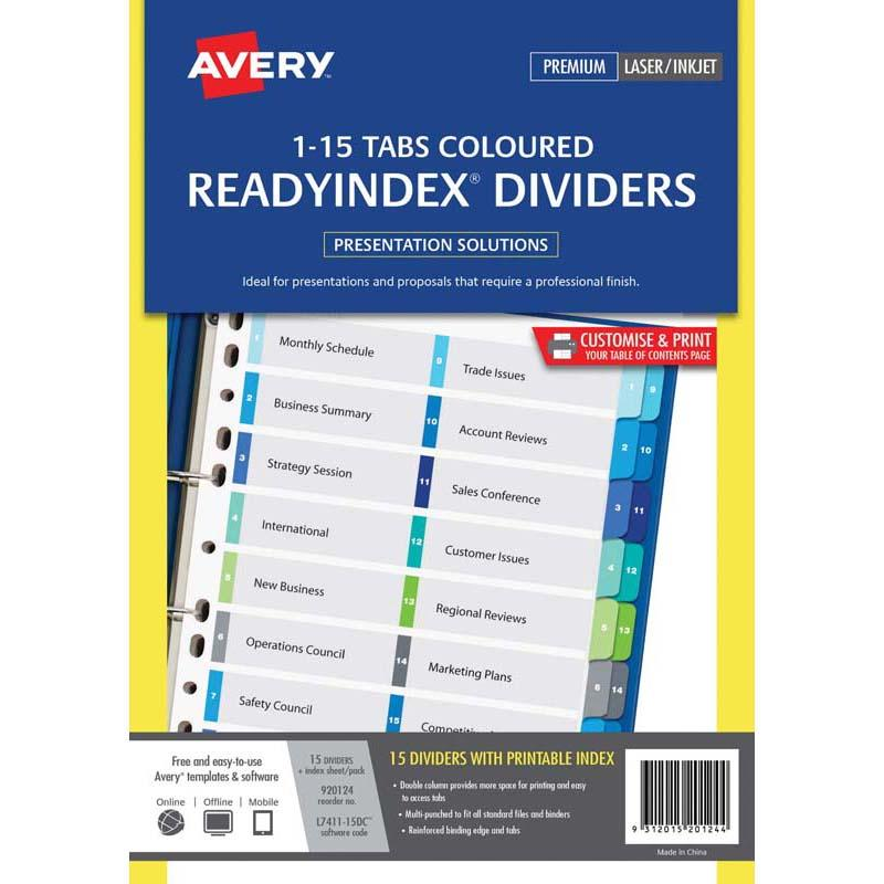 Avery Dividers A4 1-15 Tab Coloured Reinforced Manilla Dbl Column