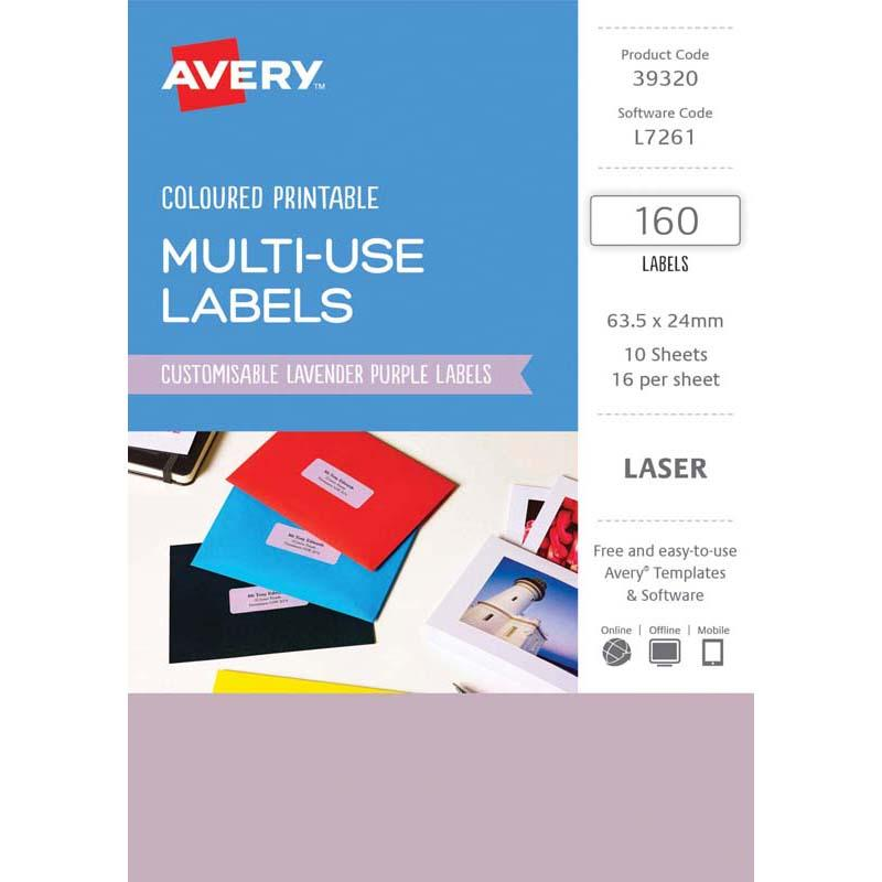 Avery Labels L7261 Lavender 63.5x24mm A5 16 Up Pack 10