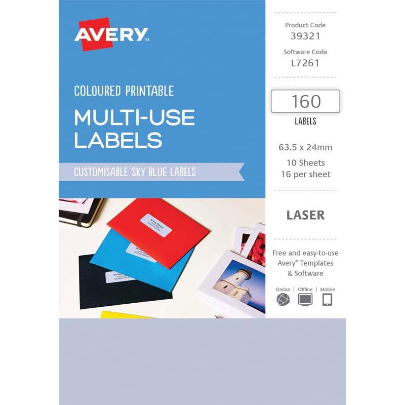 Avery Labels L7261 Sky Blue 63.5x24mm A5 16 Up Pack 10