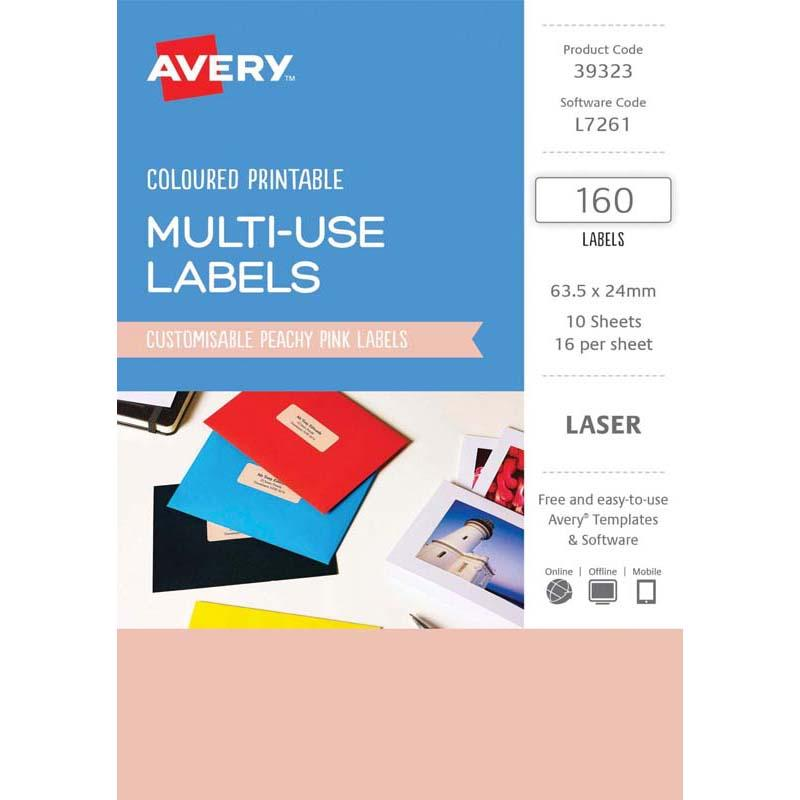 Avery Labels L7261 Peach 63.5x24mm A5 16 Up Pack 10