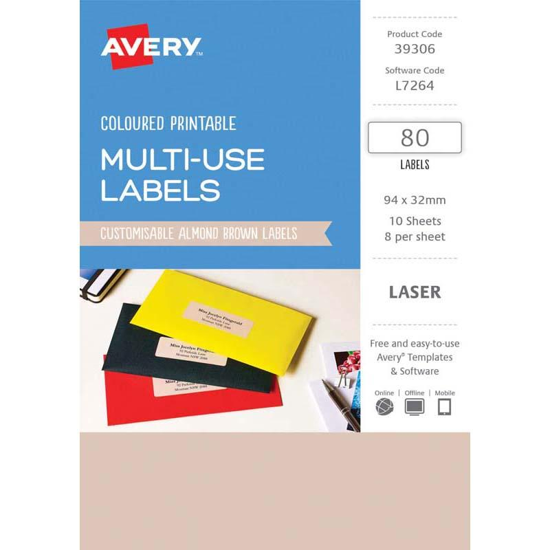 Avery Labels L7264 Almond 32x94 A5 8 Up Pack 10
