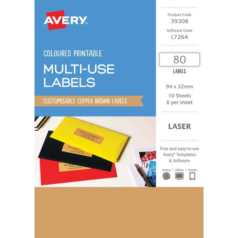 Avery Labels L7264 Copper 32x94 A5 8 Up Pack 10