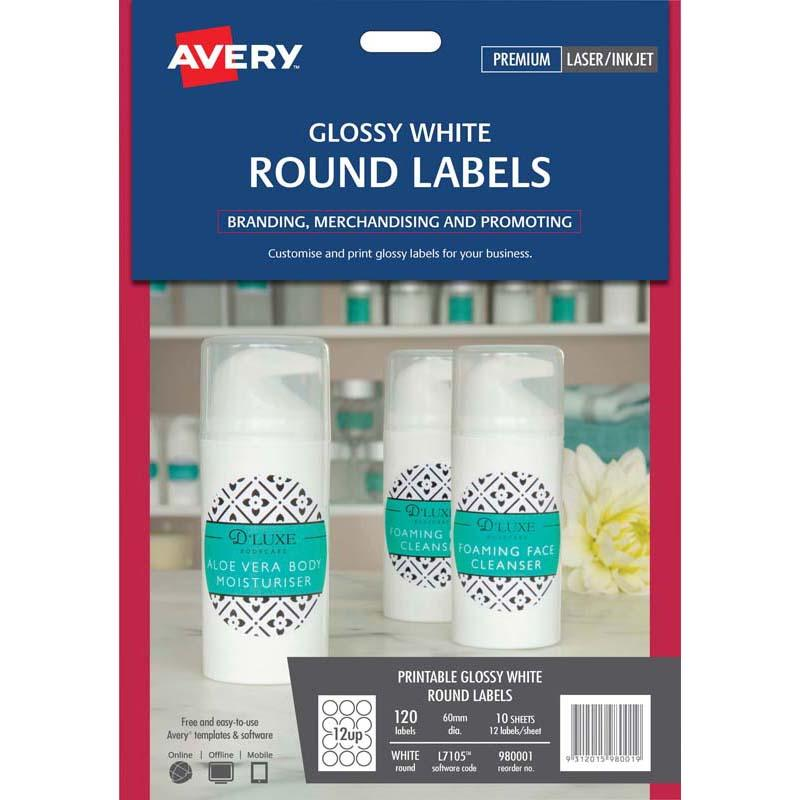 Avery Label L7105 Round White Glossy 60mm 12up 10 Sheets