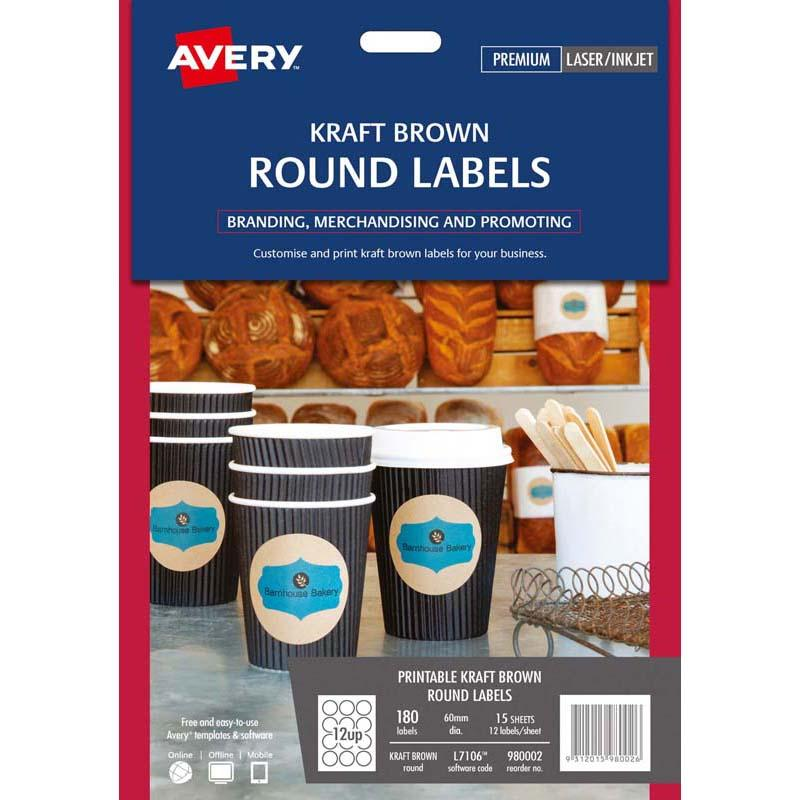 Avery Label L7106 Round Kraft 60mm 12up 15 Sheets