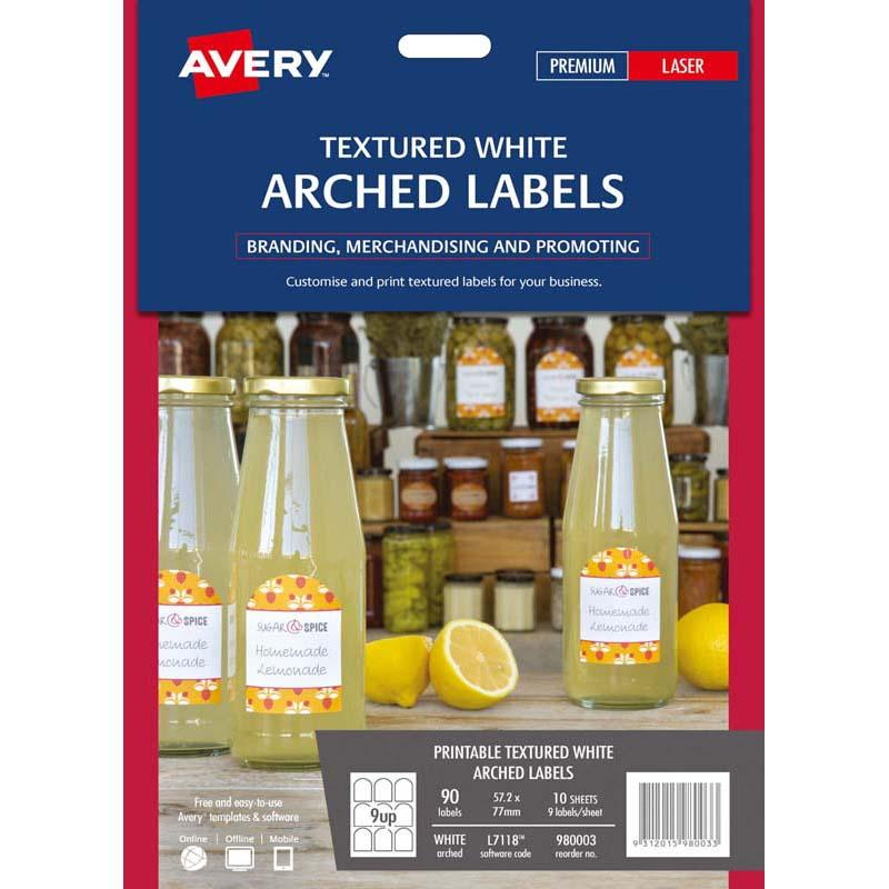 Avery Arched Textured Labels 10 Sheets 9 Up White