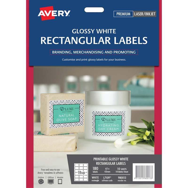 Avery Label L7109 Rectangular White Glossy 18up 10 Sheets