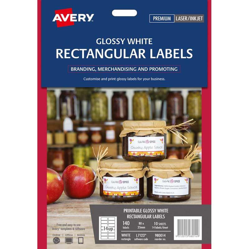 Avery Rectangular Glossy Label 10 Sheets 14 Up White L7123