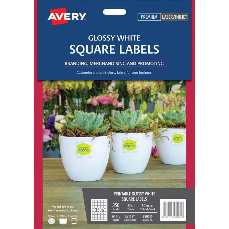 Avery Label L7119 Square White Glossy 35up 10 Sheets