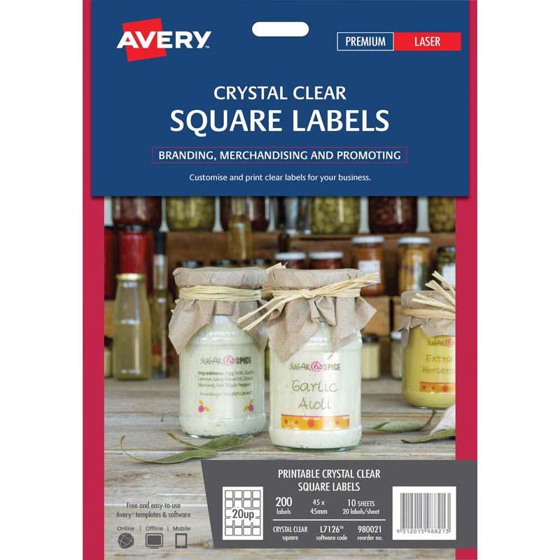 Avery Label L7126 Square Crystal Clear 20up 10 Sheets