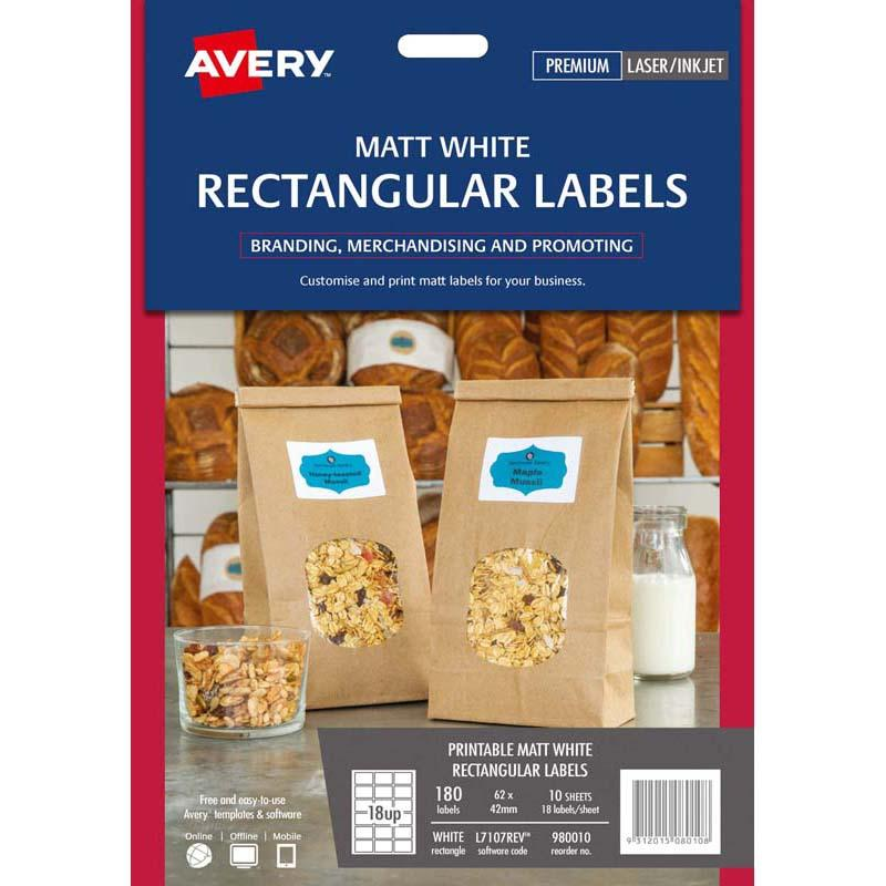 Avery Label L7107REV Rectangular White 18up 10 Sheets