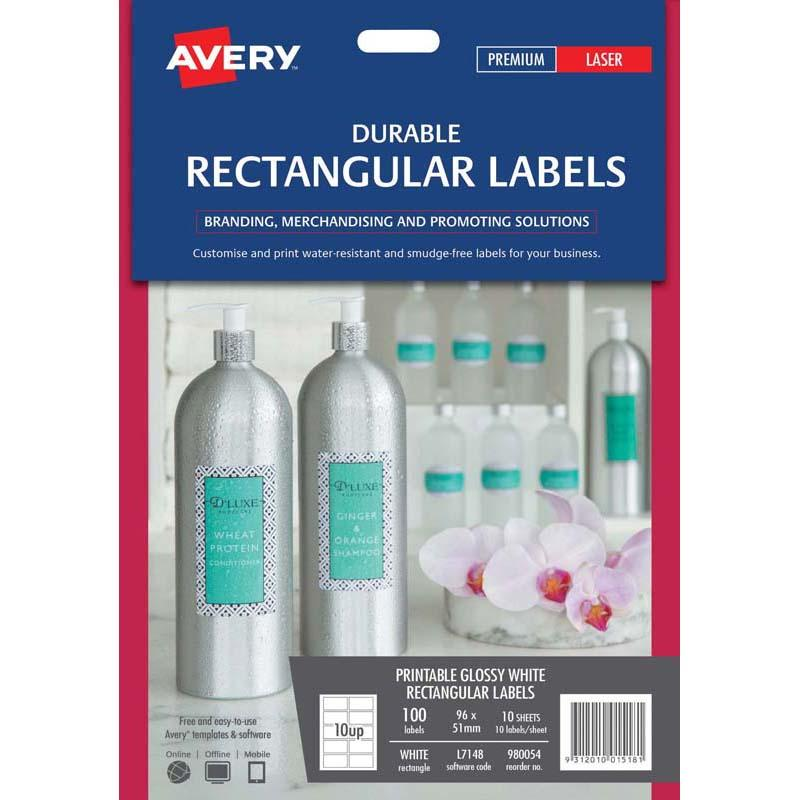 Avery Label Permanent Rectangular 10 Sheets 10 Up L7148 96x51mm